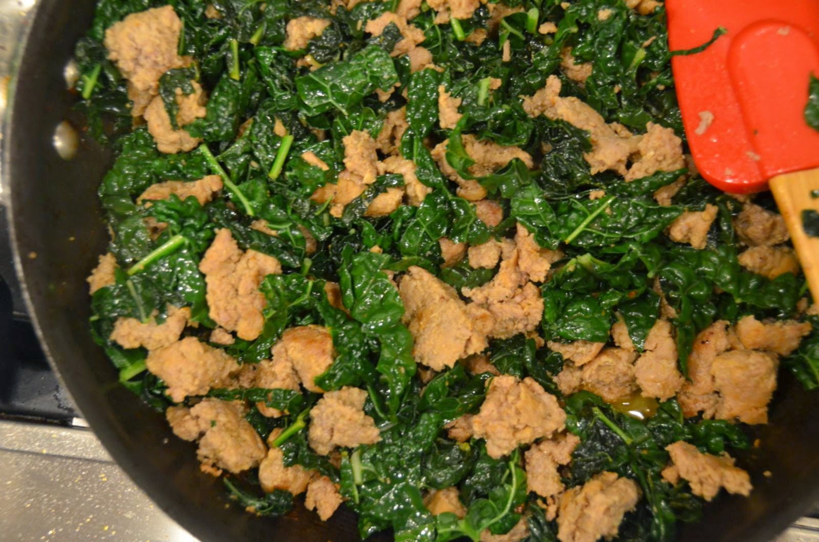 Sausage and Quick Braised Kale | Cheesy Pennies