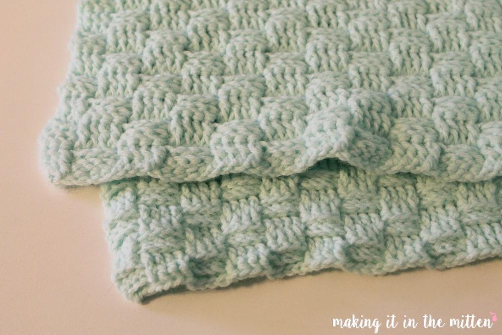 How To Make A Basket Weave Crochet Stitch : Making it in the mitten basketweave crochet baby blanket
