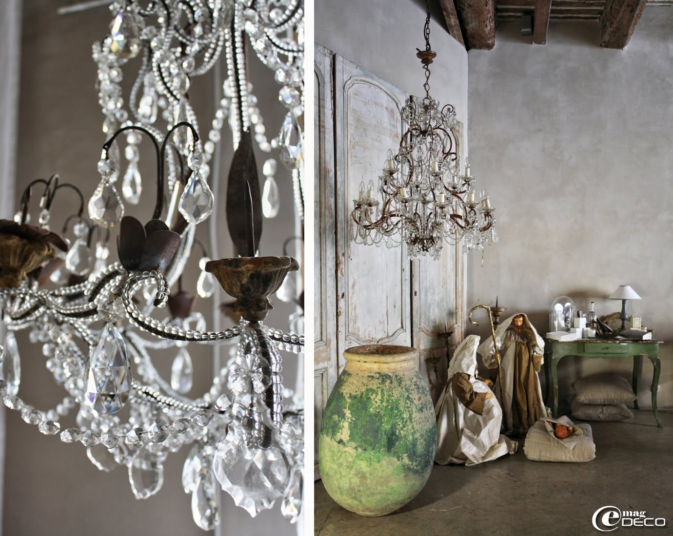 Détail d'un lustre à pampilles de verre et pique-cierges, boutique Côté Bastide