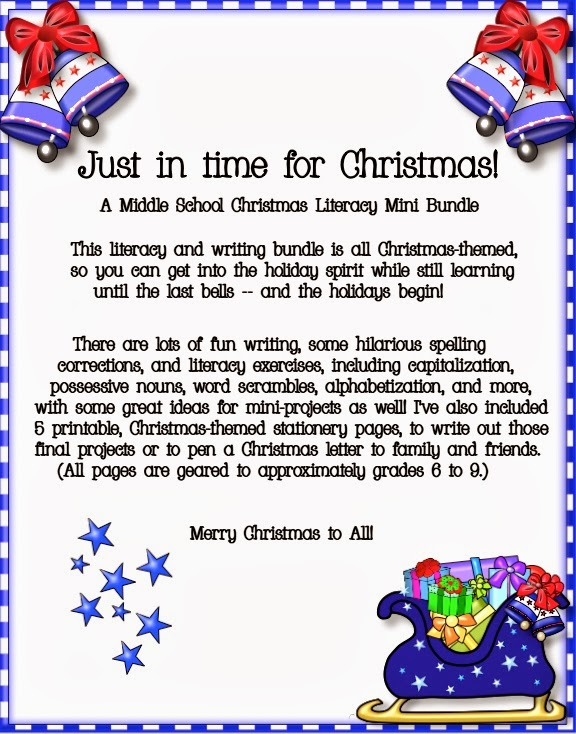 ... Blog: Just in Time! A Middle School Christmas-Themed Literacy Packet