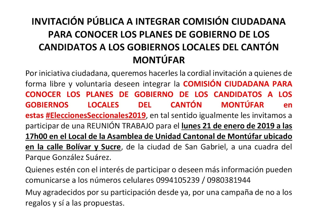 INVITACIÓN A INTEGRAR COMISIÓN CIUDADANA
