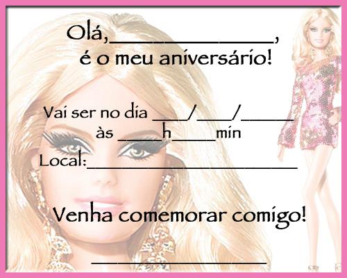 Convite da Barbie com Borda Rosa - Para imprimir « Aniversário de