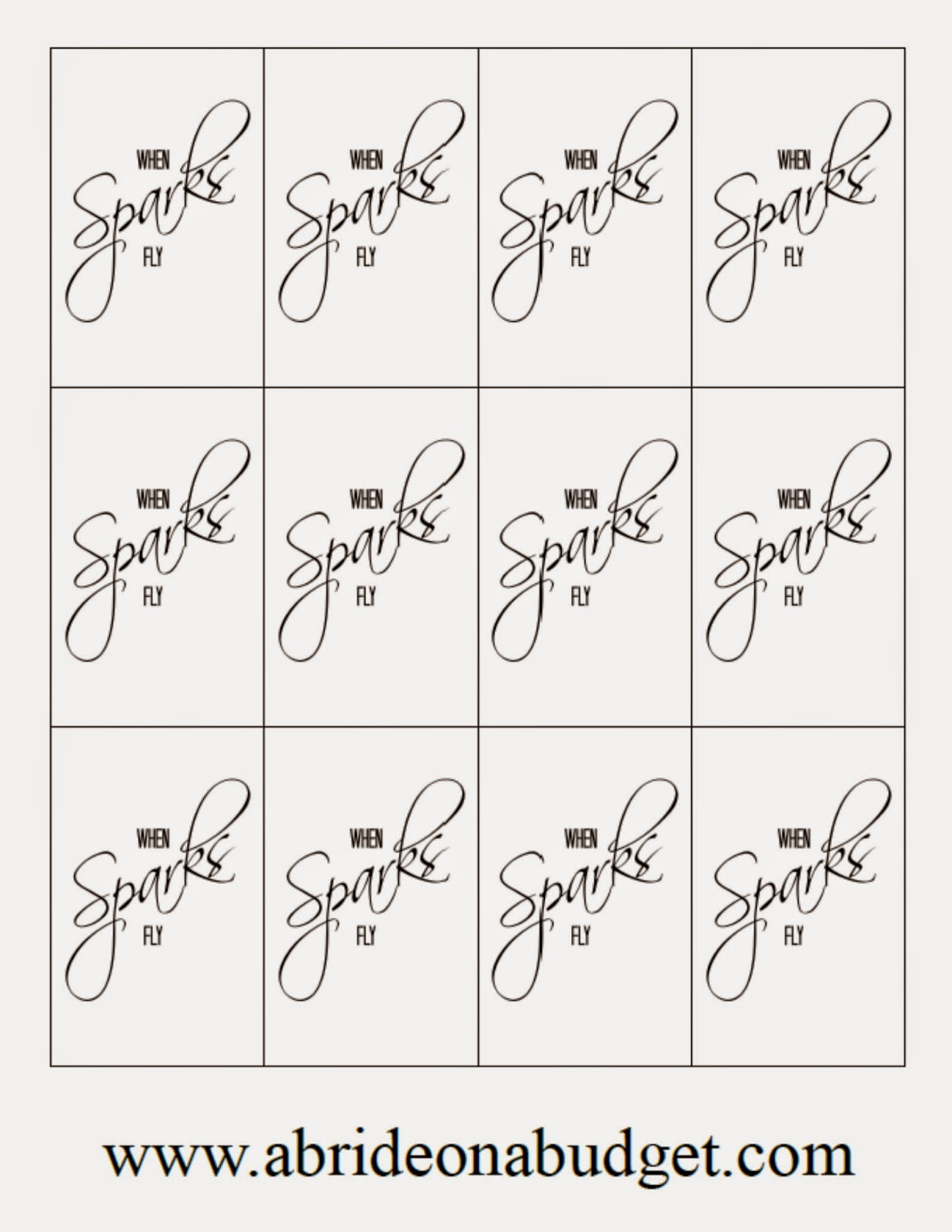 Wedding Sparklers Free Printable