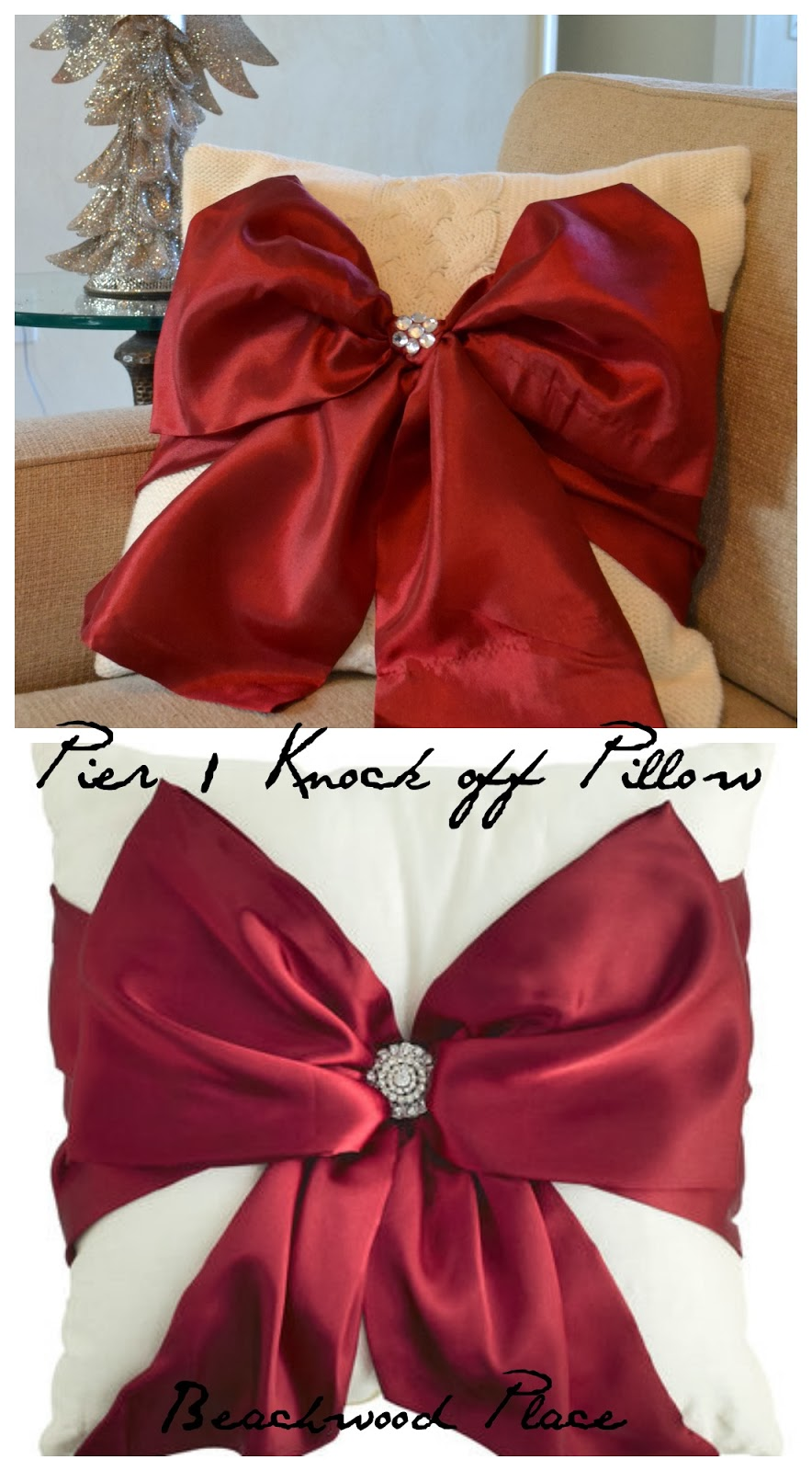 Beachwood Place: Diy Pier 1 Knock off Red Bow Pillow