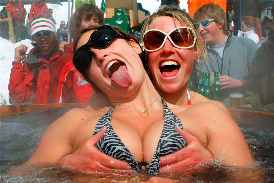winter olympic hottie Julia Mancuso in hot tub in bikini with friend squeezing her jugs