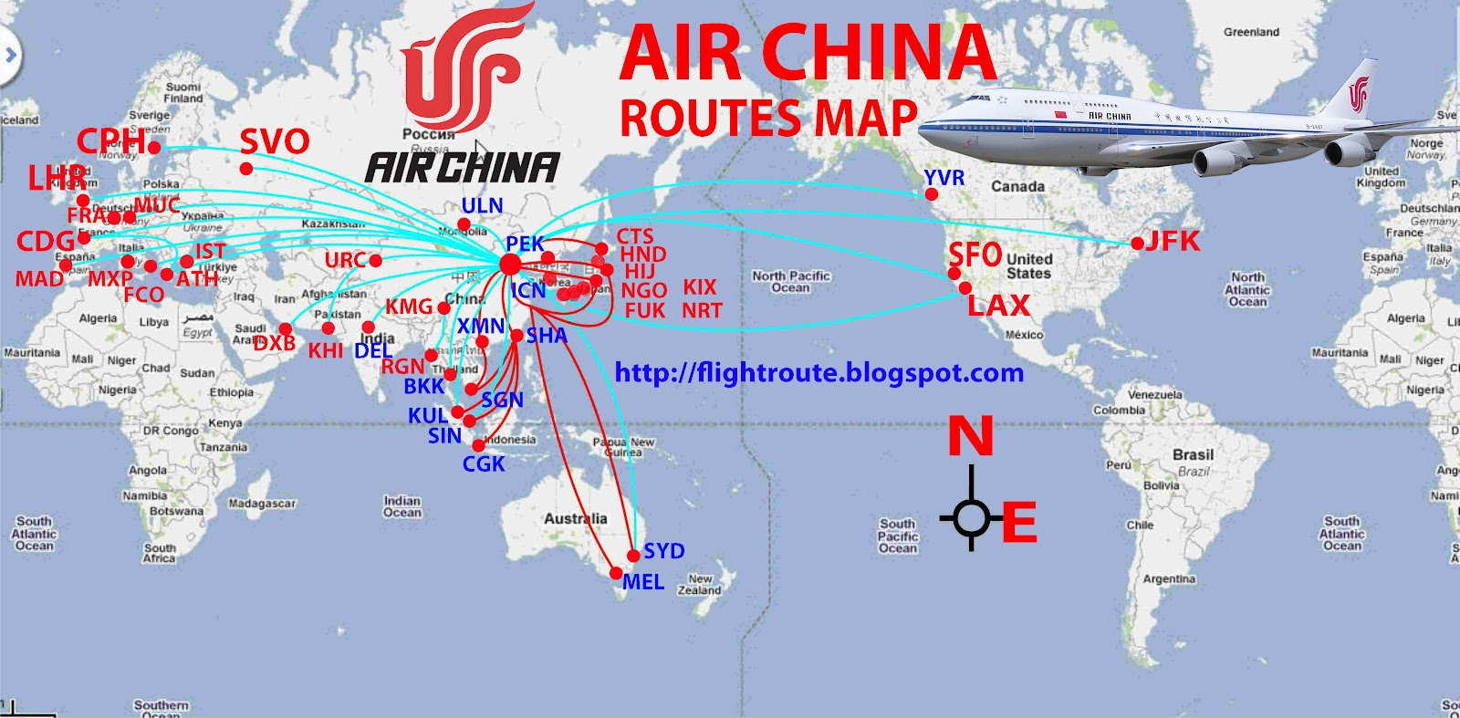 Air Route Map of India Air China Route Map