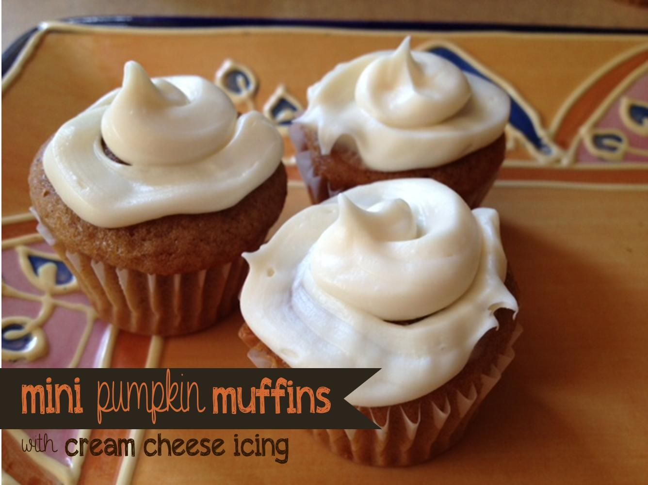 Two Magical Moms: Mini Pumpkin Muffins with Cream Cheese Icing