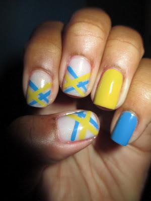 Julep, Alma, Annie, yellow, blue, stripe, striping, nail art, nail design, mani