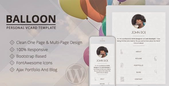 Balloon - Personal vCard WordPress Theme