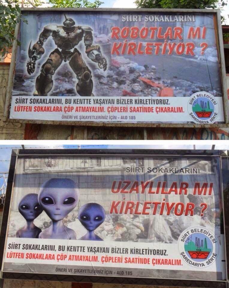 Siirt sokaklarını robotlar mı uzaylılar mı kirletiyor