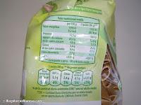 Valores nutricionales de la pasta integral GUTBIO de Aldi
