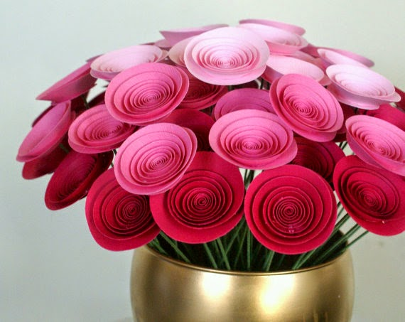 pink and red paper bouquet
