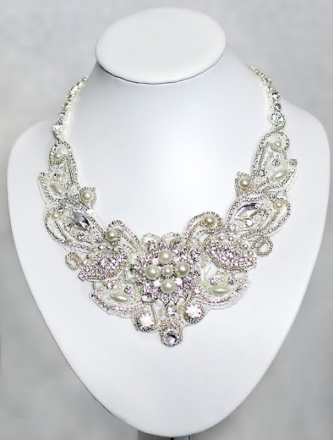 bridal lace statement necklace with rhinestones and pearls