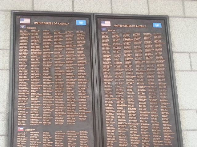 Names of US soldiers in war memorial
