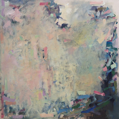 Karri Allrich painting Waiting for Bloom - abstract art 48x48 inches