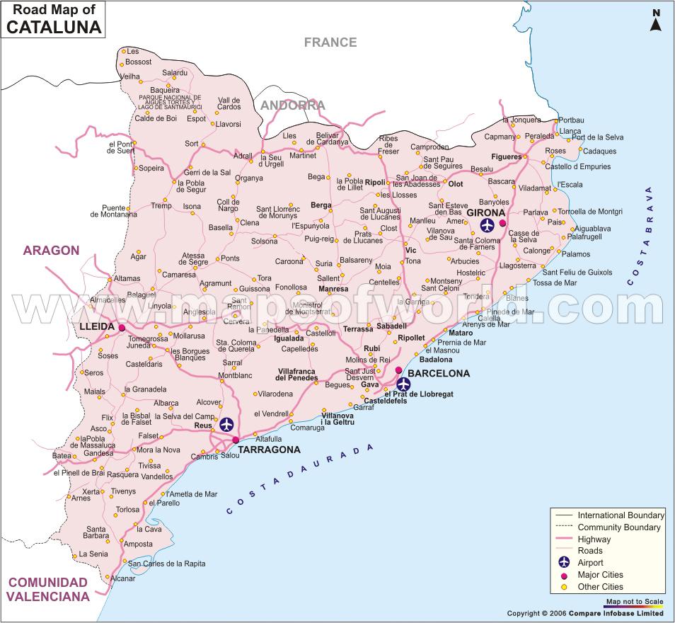 Catalogne Carte de la ville   Carte Espagne Ville Région politiques