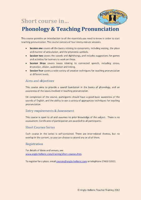 Anglo-Hellenic Teacher Training short course in Phonology and Teaching Pronunciation