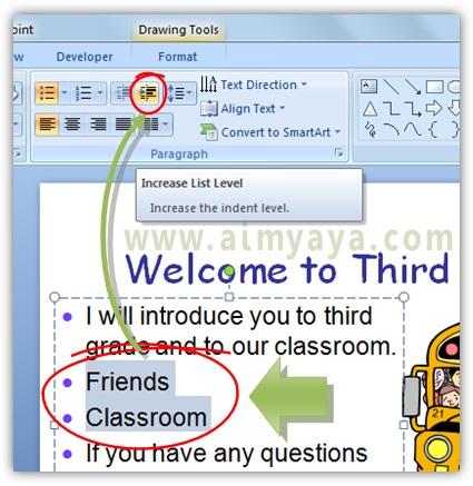 Gambar:  Cara membuat sub item bahasan di presentasi powerpoint