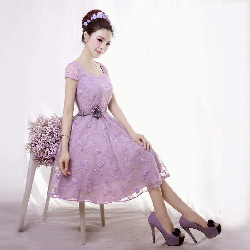 Spring 2014 New Release: Vintage Lilac Rose Embroidered Lace Midi Dress