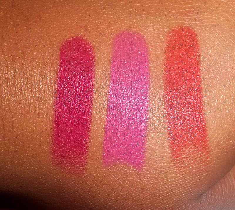 left to right) Cherry Picking, Don't Blink Pink, Purty Persimmon....