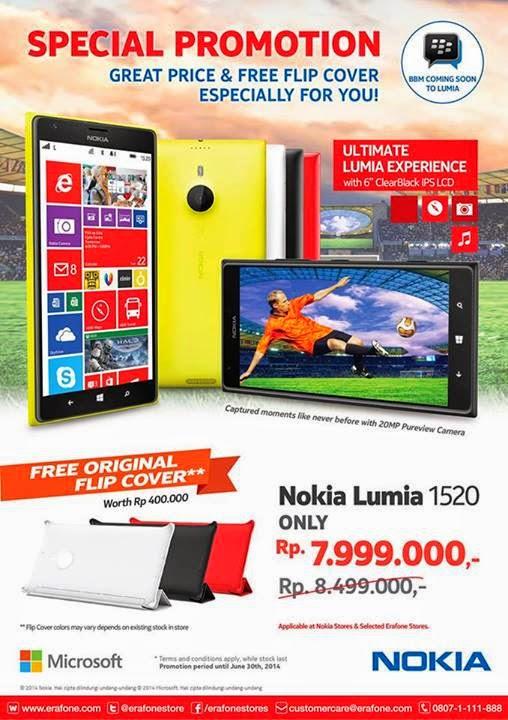 Promo Nokia Lumia 1520 dengan Original Flip Cover Rp 7.999.000