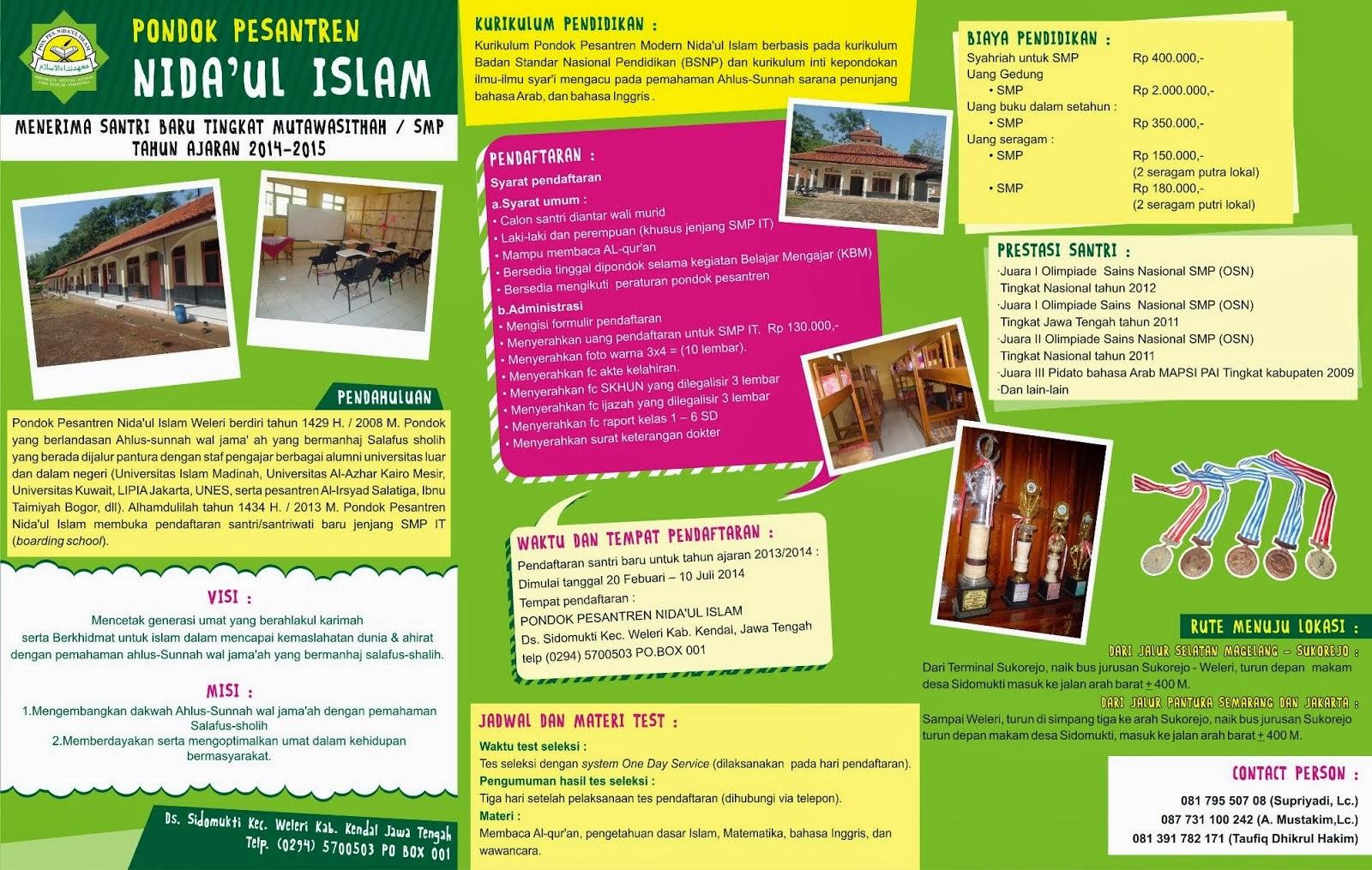 Penerimaan Santri Baru Tingkat SMP Ponpes Modern Nida'ul Islam Weleri - Kendal - Jateng