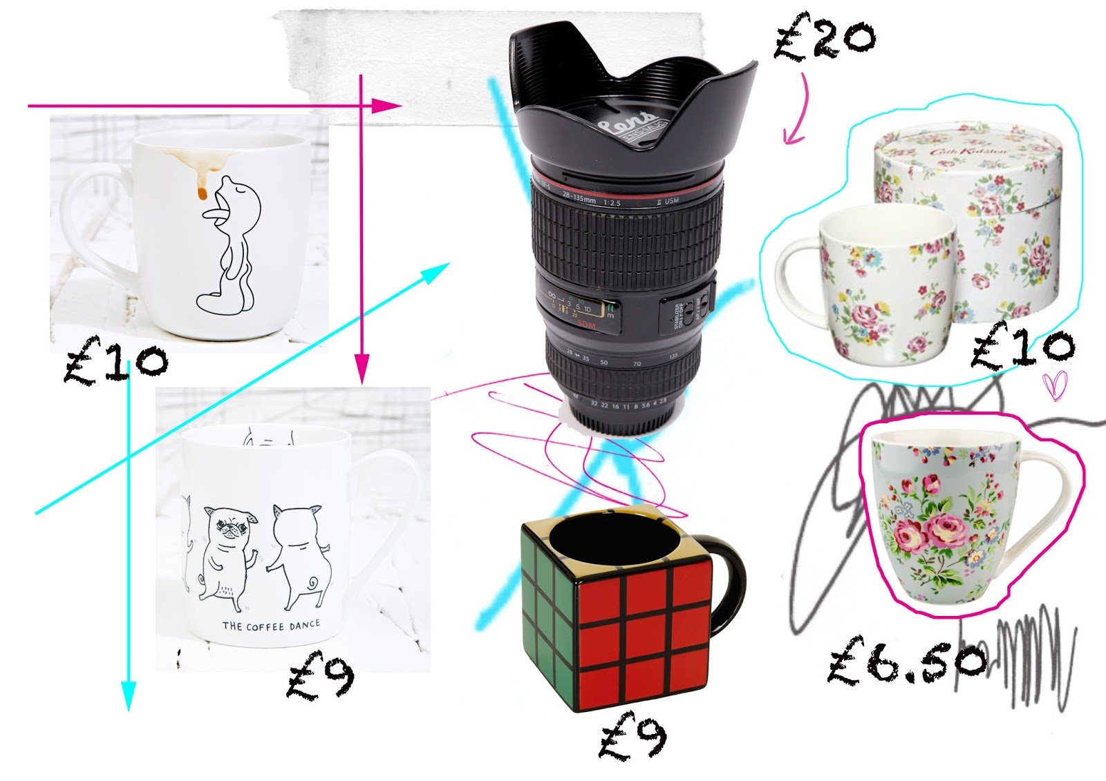 Coffee Lick, Pug Mug and Camera Lens Mug all Urban Outfitters