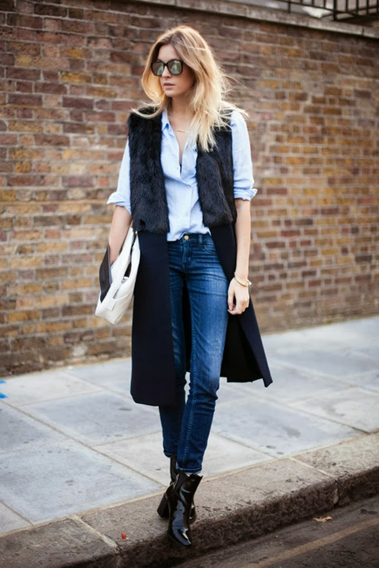 Camille Over the Rainbow fur vest denim patent leather booties
