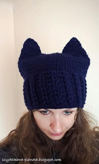 szydelkowa czapka z uszami