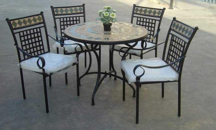Muebles de forja conjuntos de forja y cer mica para terraza - Muebles de forja para jardin ...