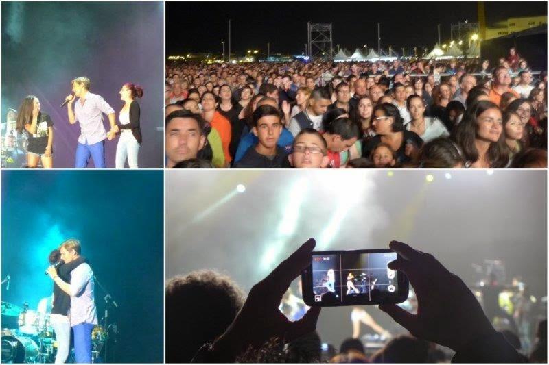 Concierto de Carlos Baute en la Playa de Poniente, Semana Grande de Gijon, Agosto 2014 – Fans en el escenario y publico