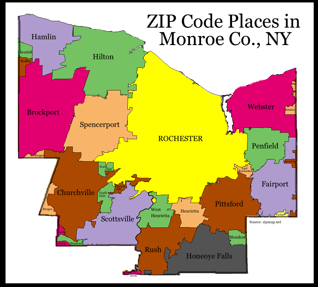 the difference between a zip code map of monroe county and a municipal map of monroe county is also quite profound most if not all portions of the towns of
