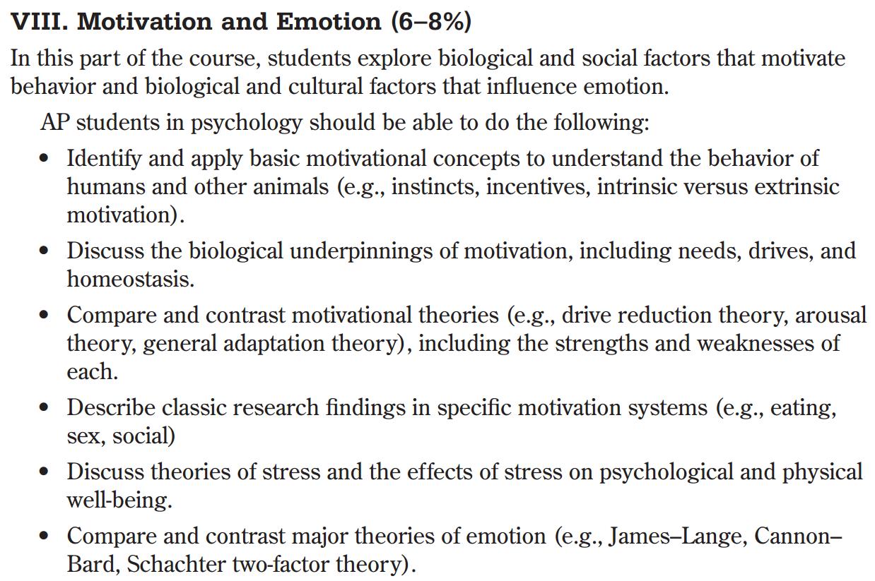 AP Psychology with Mr. Duez: 6.2:MOTIVATION-EMOTION