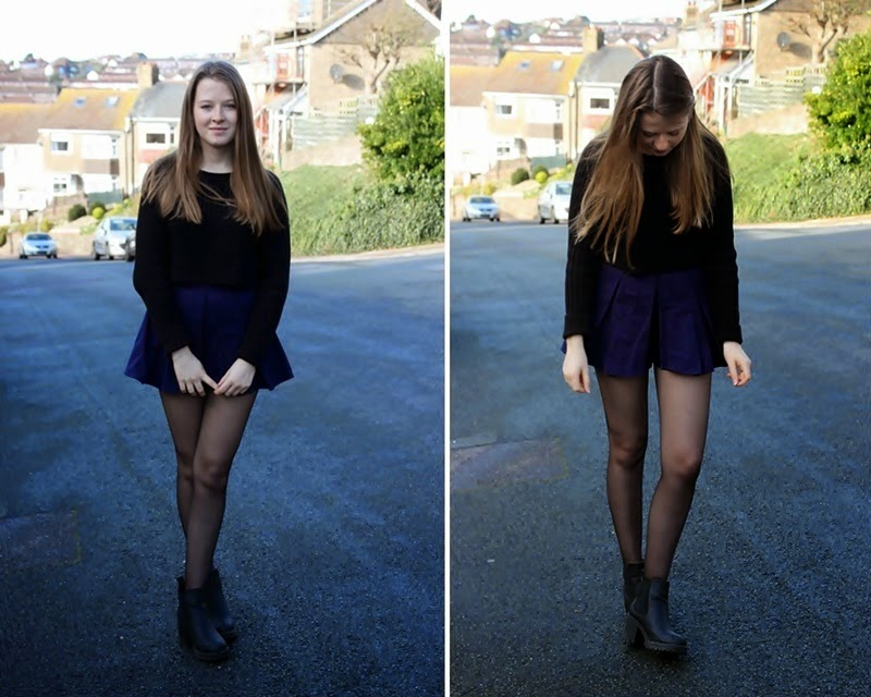 ootd, outfit, fashion, fashion blogger, blogger, skort, cropped sweater, sweater, monki, navy, black, boots, new look, asos, simple