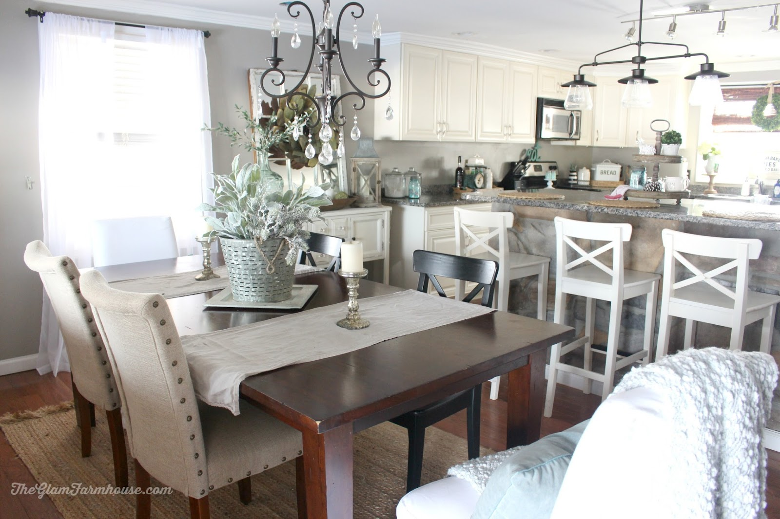 Rustic glam dining room tour with before afters the Kitchen table in living room