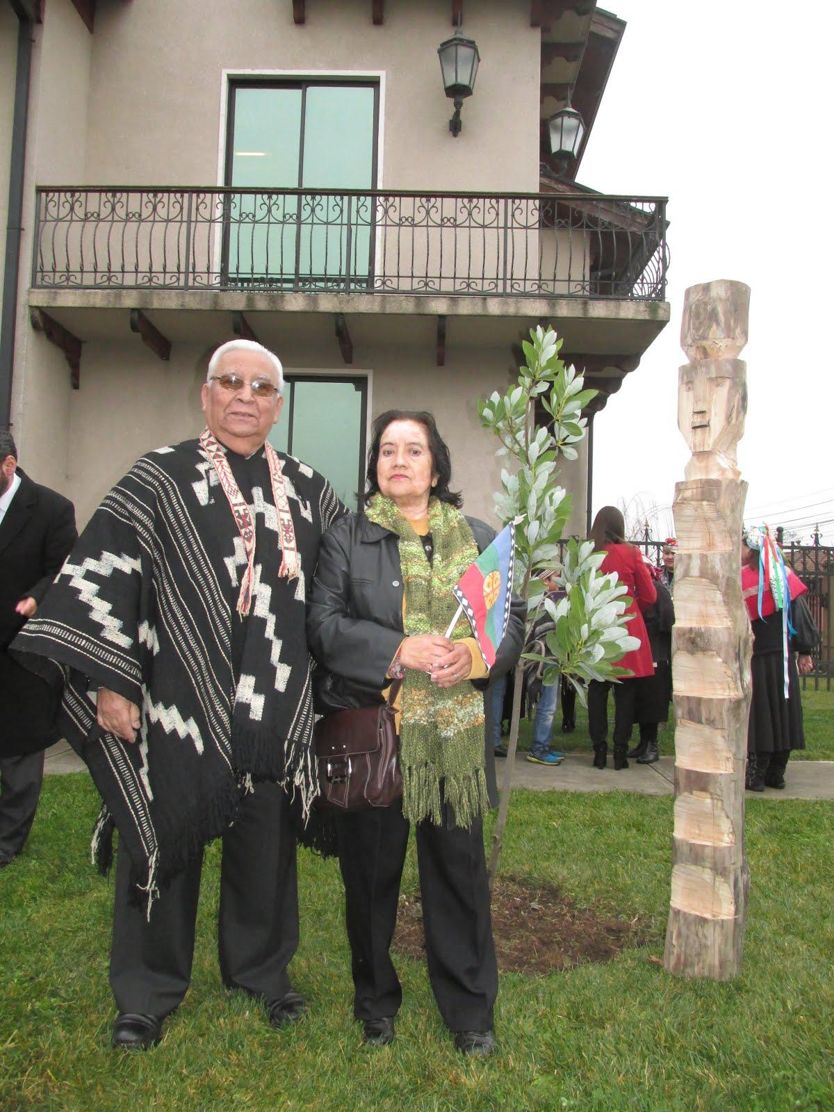 En ceremonia de izamiento de la bandera mapuche en Municipalidad de Chillán Viejo