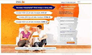 Strona docelowa (Landing page) kampanii e-marketingowej kredytu hipotetycznego ING Banku Śląskiego w oparciu o Google AdWords.