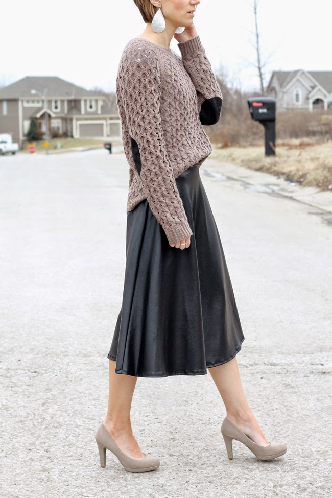 Vegan leather skirt, mocha sweater
