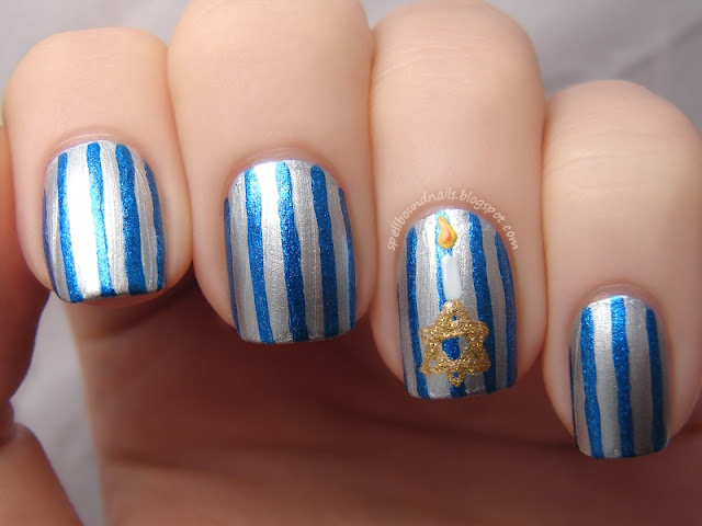 nails nailart nail art polish mani manicure Spellbound Happy Hanukkah Chanukah holiday Star of David gold silver blue China Glaze Blue Bells Ring Pure Ice Silver Mercedes candle fire flame stripes