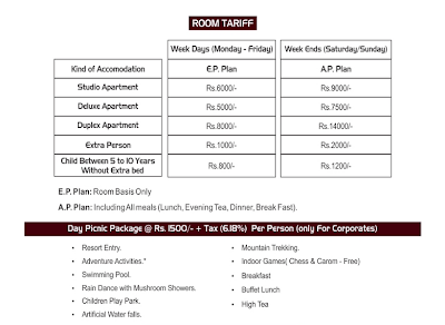tariff of mohili meadows resort karjat