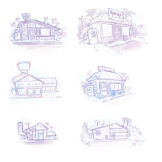 Danny Moore Illustrator Kwiki Joe's Exterior Sketches