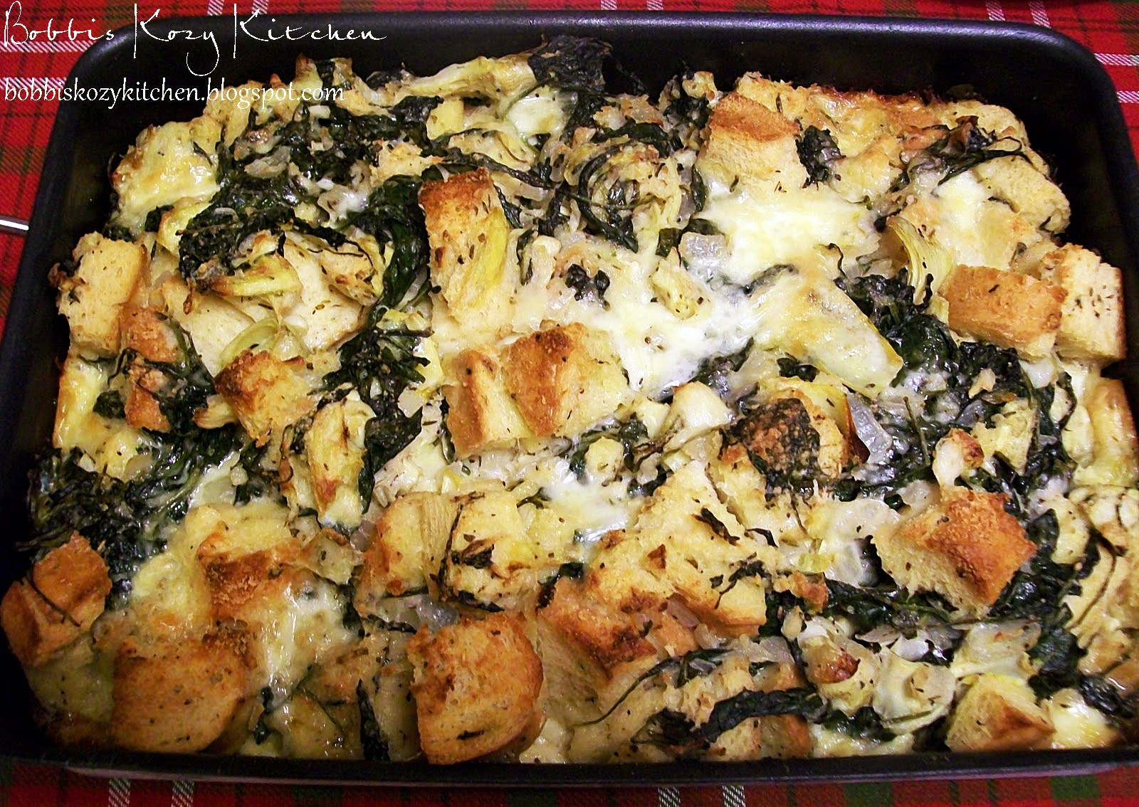 Savory Bread Pudding with Spinach, Artichoke, and Brie | Bobbi's Kozy ...