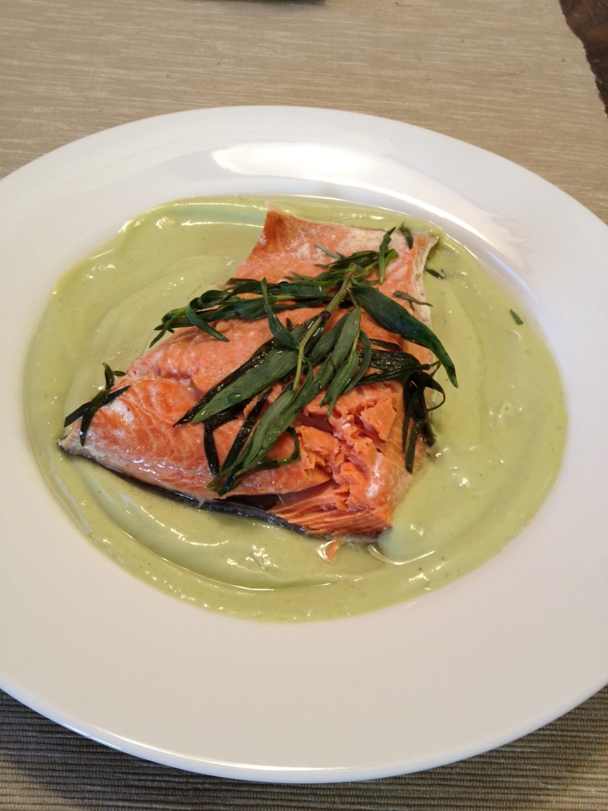 Simply scrumptious: Tarragon Roasted Salmon with Creamy Avocado Sauce