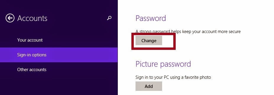 how to change your pc password windows 8