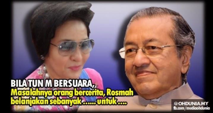 Masalahnya ialah, orang bercerita Rosmah dah belanjakan sebanyak