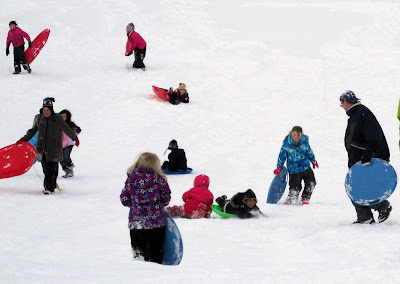 Chaos at the botom of a sledding hill