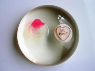 Custom made paperweight with a love heart sweet and Haribo ring