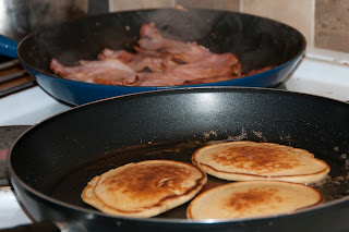 Pancake day, with bacon and maple syrup
