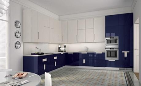 Decora y disena 12 cocinas color azul italianas modernas - Cocina blanca y azul ...
