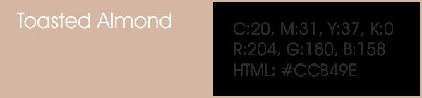 Toasted Almond y sus códigos cmyk, rgb, html